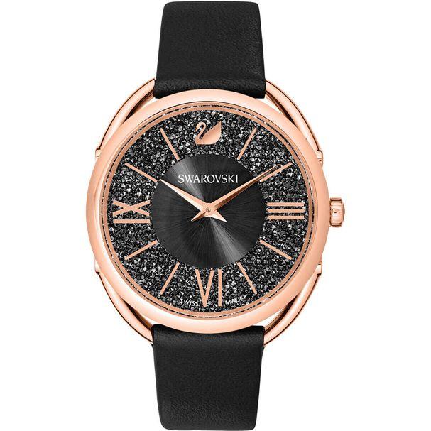 Reloj-Crystalline-Glam-Correa-de-piel-negro-tono-oro-rosa
