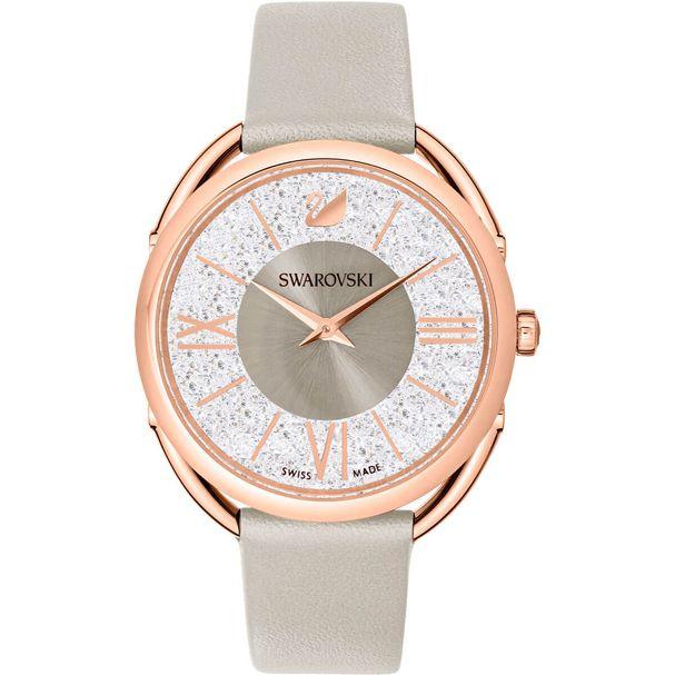Reloj-Crystalline-Glam-Correa-de-piel-gris-tono-oro-rosa