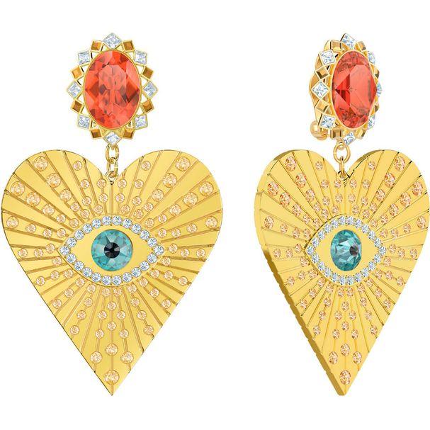 Pendientes-de-clip-Lucky-Goddess-Heart-multicolor-baño-de-oro