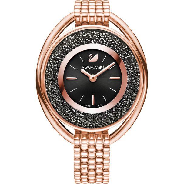 Reloj-Crystalline-Oval-Brazalete-de-metal-negro-tono-oro-rosa