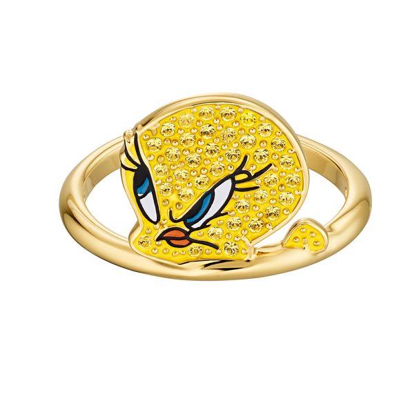 Anillo-Looney-Tunes-Piolin-amarillo-Baño-en-tono-oro