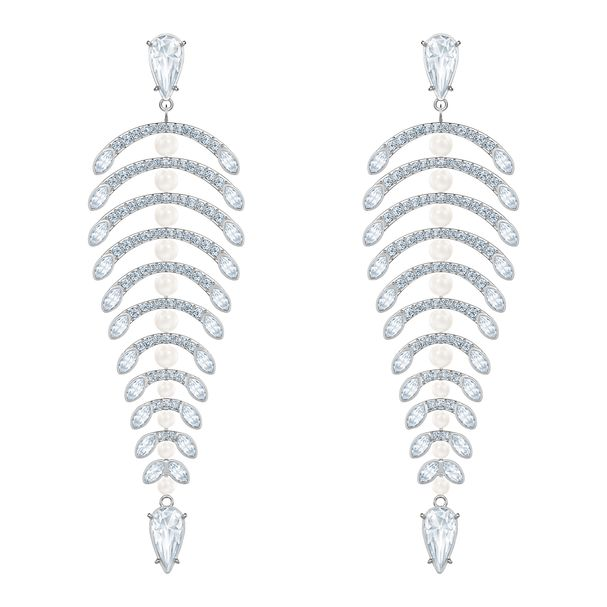 Aretes-chandelier-Polar-Bestiary-blanco-Baño-de-Rodio