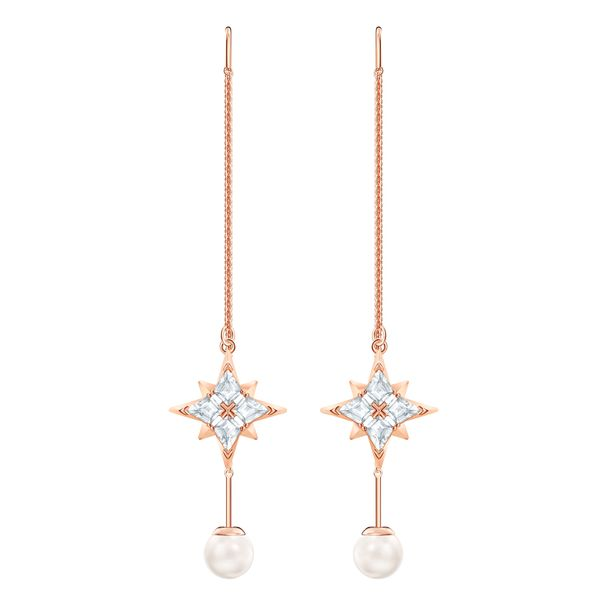 Aretes-de-cadena-Swarovski-Symbolic-blanco-Baño-en-tono-oro-rosa