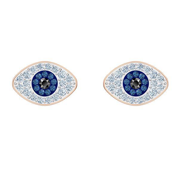 Aretes-de-boton-Swarovski-Symbolic-azul-Baño-en-tono-Oro-Rosa
