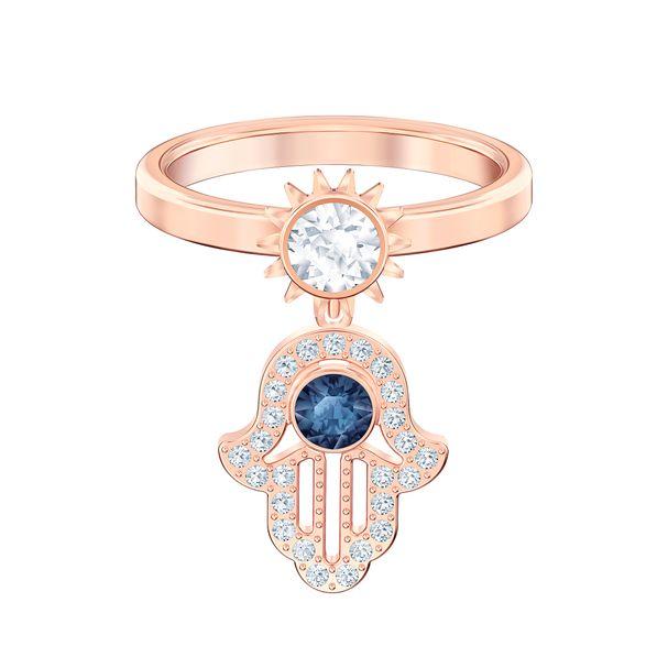 Anillo-con-motivo-Swarovski-Symbolic-azul-Baño-en-tono-Oro-Rosa