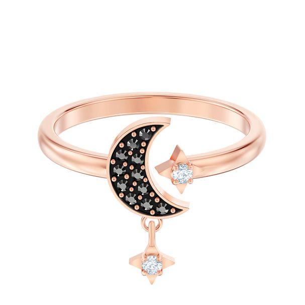 Anillo-con-motivo-Swarovski-Symbolic-Moon-negro-Baño-en-tono-oro-rosa
