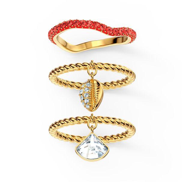 Conjunto-de-anillos-Shell-rojo-baño-tono-oro