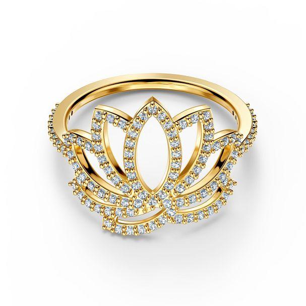 Anillo-Swarovski-Symbolic-Lotus-blanco-baño-tono-oro
