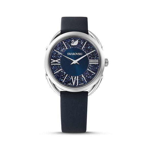 Reloj-Crystalline-Glam-correa-de-piel-azul-acero-inoxidable