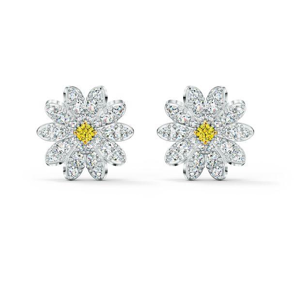 Aretes-de-boton-Eternal-Flower-amarillo-combinacion-de-acabados-metalicos