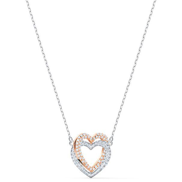 Collar-Swarovski-Infinity-Heart-blanco-combinacion-de-acabados-metalicos