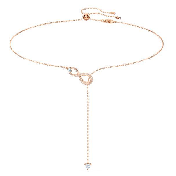 Collar-en-Y-Swarovski-Infinity-blanco-baño-tono-oro-rosa