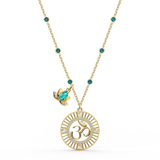Colgante-Swarovski-Symbolic-Lotus-verde-baño-tono-oro