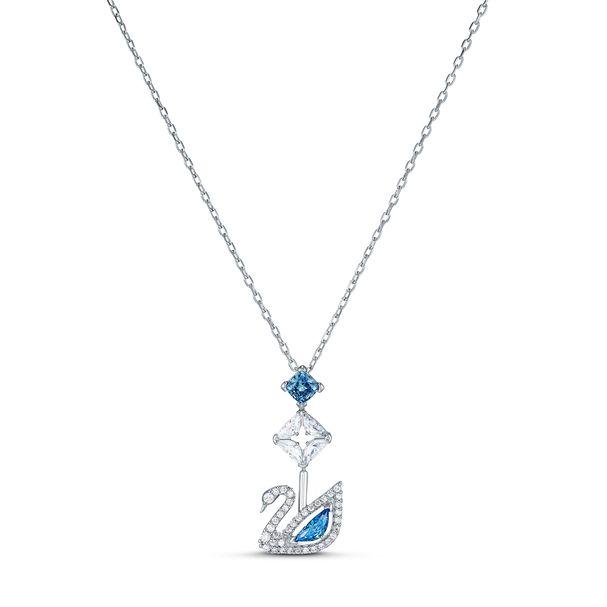Collar-Dazzling-Swan-azul-baño-de-rodio