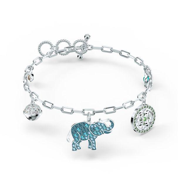 Pulsera-Swarovski-Symbolic-Elephant-colores-claros-baño-de-rodio