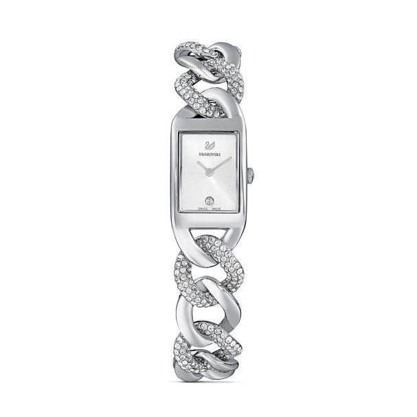 Reloj-Cocktail-brazalete-de-metal-tono-plateado-acero-inoxidable