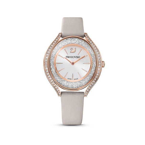 Reloj-Crystalline-Aura-correa-de-piel-gris-PVD-tono-oro-rosa