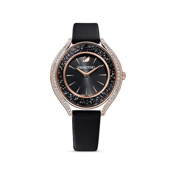 Reloj-Crystalline-Aura-correa-de-piel-negro-PVD-tono-oro-rosa
