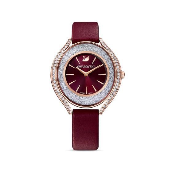 Reloj-Crystalline-Aura-correa-de-piel-rojo-PVD-tono-oro-rosa