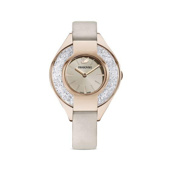 Reloj-Crystalline-Sporty-correa-de-piel-gris-PVD-tono-oro-champan