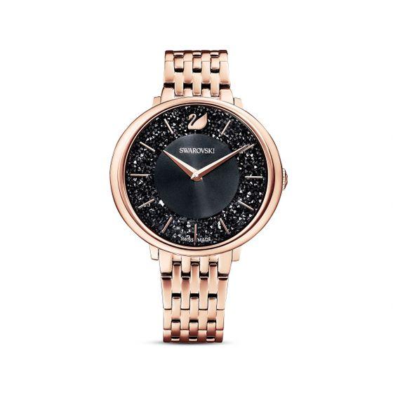 Reloj-Crystalline-Chic-brazalete-de-metal-negro-PVD-tono-oro-rosa