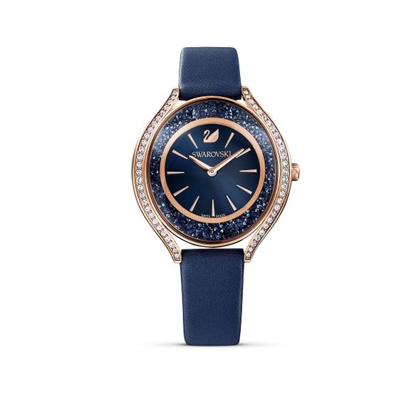 Reloj-Crystalline-Aura-correa-de-piel-azul-PVD-tono-oro-rosa