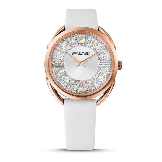Reloj-Crystalline-Glam-Correa-de-piel-blanco-tono-oro-rosa
