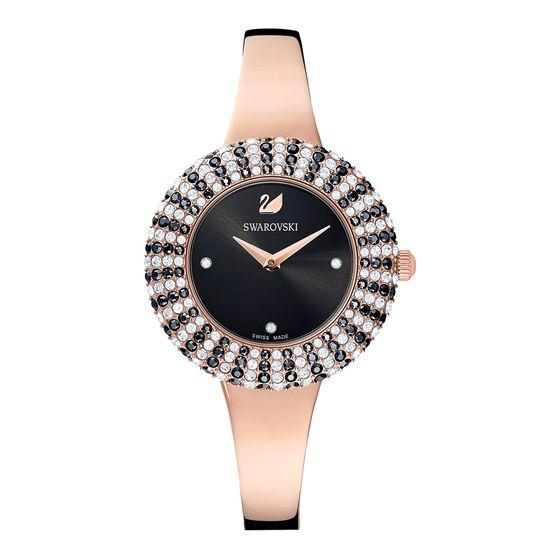Reloj-Crystal-Rose-Brazalete-de-metal-negro-PVD-en-tono-Oro-Rosa