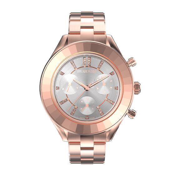Reloj-Octea-Lux-Sport-Brazalete-de-metal-Blanco-PVD-tono-oro-rosa